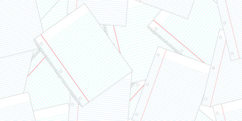 Seamless Layered Traditional White with Blue and Red Lines School Notebook Paper Pattern.