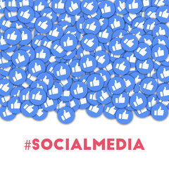 Social media icons in abstract shape background with scattered thumbs up.