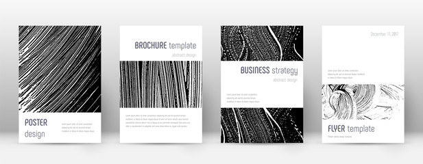 Cover page design template. Minimalistic brochure layout. Classic trendy abstract cover page. Black