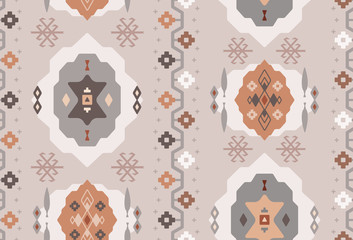 Seamless Repeat Tribal Turkish Kilim Rug or Carpet Pattern in Blush, Copper, and Gun Metal Gray.