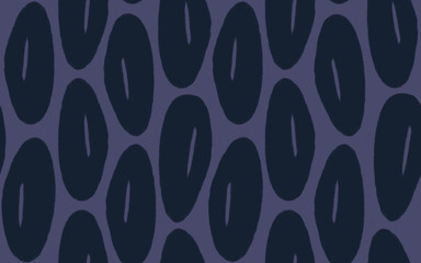 Hand Drawn Seamless Vintage Floral Blob Flower Pattern in Navy Blue and Eggplant Purple.