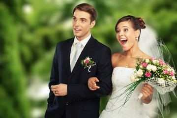 Happy just married young couple
