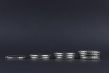 copy spaсe,  Coins laid out in a row, one-on-one in ascending order