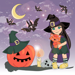 Halloween Color Vector Illustration Set HALLOWEEN COSTUME for Scrapbooking Party and Digital Print on Card And Photo Mystic Album
