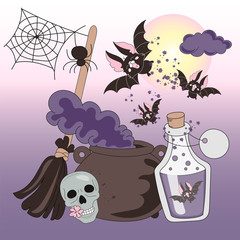 Halloween Color Vector Illustration Set HALLOWEEN HORROR NIGHTS for Scrapbooking Party and Digital Print on Card And Photo Mystic Album