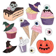 Halloween Color Vector Illustration Set HALLOWEEN SWEETS for Scrapbooking Party and Digital Print on Card And Photo Mystic Album