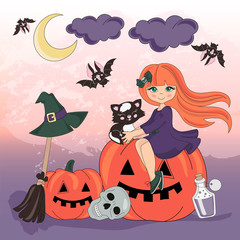 Halloween Color Vector Illustration Set PUMPKIN HOLIDAY for Scrapbooking Party and Digital Print on Card And Photo Mystic Album