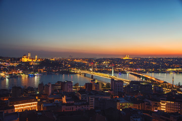 Aerial panoramic view of historical part of Istanbul