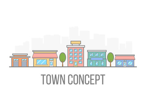 Small town concept. Linear color cityscape. Street with hotel, garage, boutique and cafe. City in flat style isolated on white background. Vector illustration