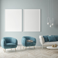 Mock up poster on the blue wall, blue living room, 3d render, 3d illustration