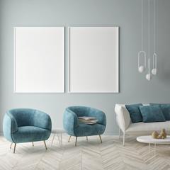 Mock up poster on the blue wall, blue living room, 3d render, 3d illustration