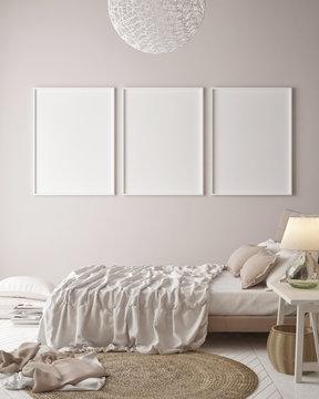 Mock up posters on minimalism pastel wall , hipster bedroom, 3d render , 3d illustration