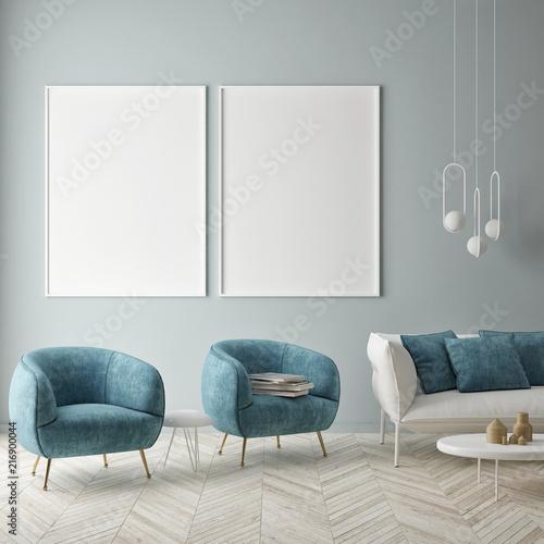 Mock Up Poster On The Blue Wall Blue Living Room 3d Render 3d