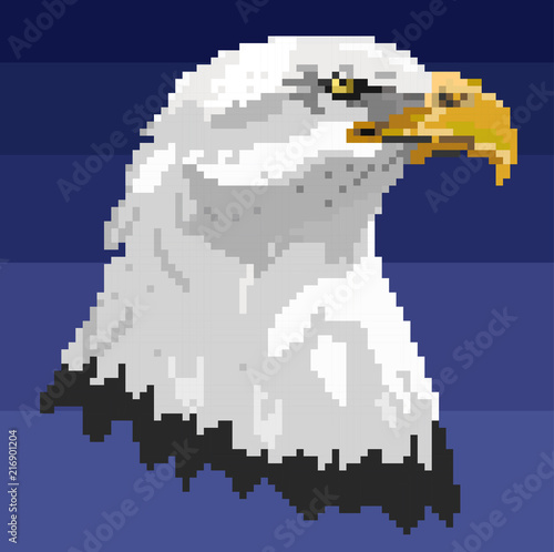 Vector illustration of Cartoon bald eagle - Pixel art design