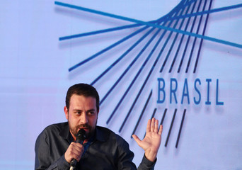 Brazil's presidential candidate of the Socialism and Freedom Party (PSOL) Guilherme Boulos attends the GovTech seminar in Sao Paulo