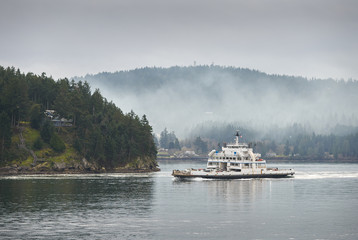 Gulf Island Ferry, British Columbia. A BC Ferry travelling through the Gulf Islands in British Columbia.
