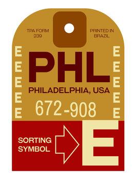 Philadelphia airport luggage tag