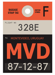 Montevideo airport luggage tag