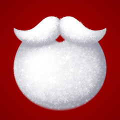 Realistic vector Santa Claus white beard isolated on red background
