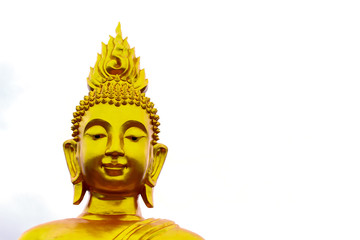 Image of golden Buddha head on white background, Buddhist worship, Buddha day