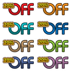Illustration Vector of 20% off. discount banners design template, app icons, vector illustration