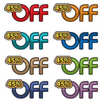Illustration Vector of 45% off. discount banners design template, app icons, vector illustration