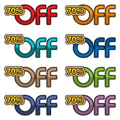 Illustration Vector of 70% off. discount banners design template, app icons, vector illustration
