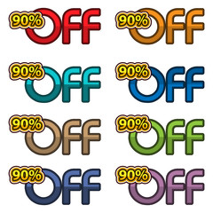 Illustration Vector of 90% off. discount banners design template, app icons, vector illustration