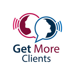 Get more clients with people sign. Flat vector illustration on white background