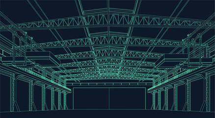 wire frame illustration of an industrial warehouse or hangar for virtual reality