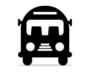 black silhouette bus school image vector icon logo