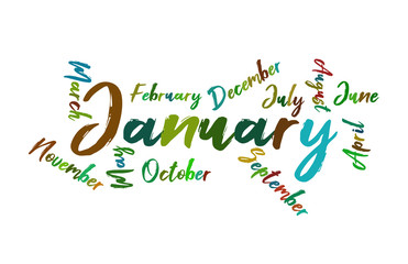 January Colorful Lettering Name of Month Calendae