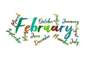 February Colorful Lettering Name of Month Calendae