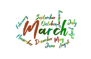 March Colorful Lettering Name of Month Calendae