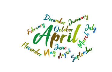 April Colorful Lettering Name of Month Calendae