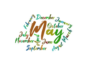 May Colorful Lettering Name of Month Calendae