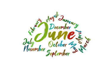 June Colorful Lettering Name of Month Calendae