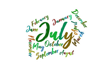 July Colorful Lettering Name of Month Calendae