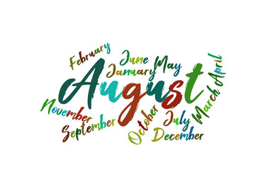 August Colorful Lettering Name of Month Calendae