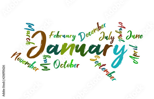 january colorful lettering name of month calendae stock image and