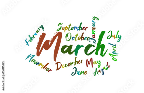 march colorful lettering name of month calendae stock image and