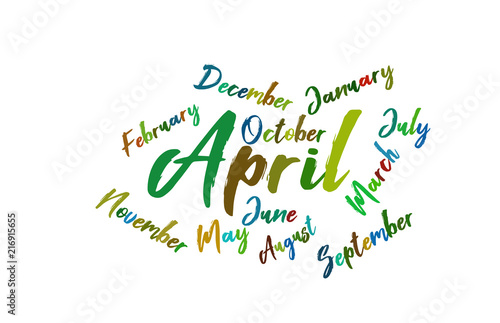 april colorful lettering name of month calendae stock image and