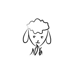 head of a sheep icon in sketch style. Element of sheep for mobile concept and web apps illustration. Sketch icon for website design and development, app development