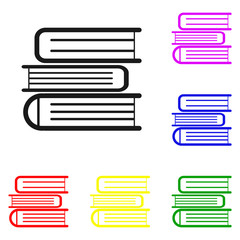 Elements of Books in multi colored icons. Premium quality graphic design icon. Simple icon for websites, web design, mobile app, info graphics