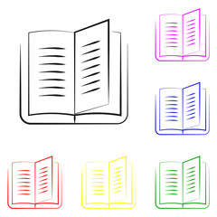 Elements of Book in multi colored line icons. Premium quality graphic design icon. Simple icon for websites, web design, mobile app, info graphics
