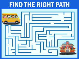Maze game finds the school bus way get to school