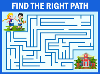 Maze game finds the student way get to school