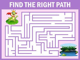 Maze game finds the frog prince way get to lake