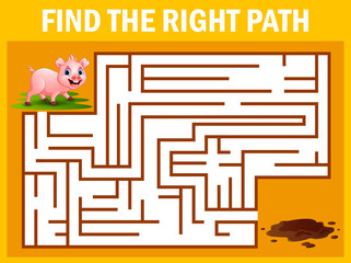 Maze game finds the pig way get to the mud