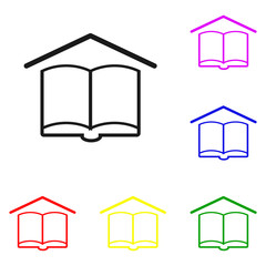Elements of Book in multi colored icons. Premium quality graphic design icon. Simple icon for websites, web design, mobile app, info graphics